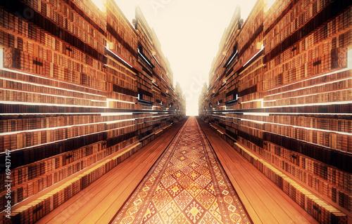 Leinwandbild Motiv Mega Libreria Biblioteca 3d Rendering