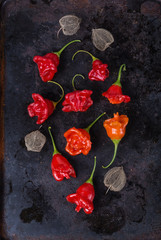 Bell shaped capsicum on a rustic metal tray