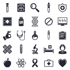 Healthcare and medicine theme, black and white icons.