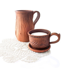 Ceramic Jug and Cup with Milk
