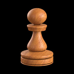 Pawn chess. Clipping path included.