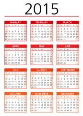 Calendar vector 2015