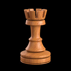 Rook chess. Clipping path included.