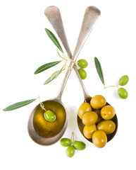 olives and olive oil, top view