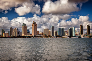 San Diego Downtown City Skyline Clouds and Water