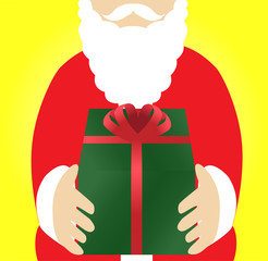 Santa Claus holding a Christmas present, vector illustration