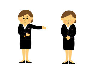 A set of concierge, young woman, vector illustration