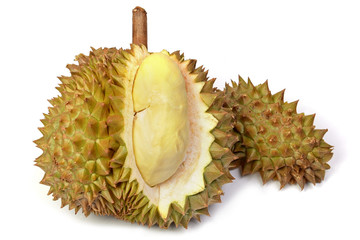 Durian fruit isolated on white backgrounds