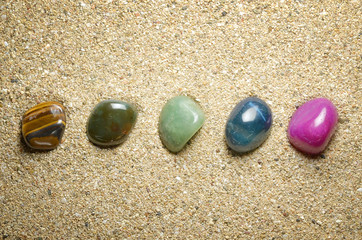 minerals and precious gems in the sand