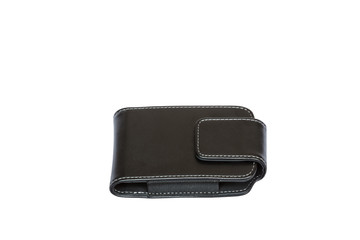 leather black case for mobile phone on white background