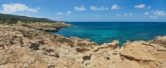 limestone mediterranean coast on sunny day