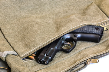 handgun and bullets magazine in handbag
