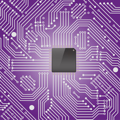 High tech electronic circuit board on purple background