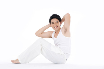 Sexy Young fashion sport man, exercise white background