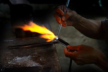 Local glass making.