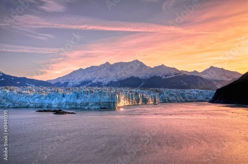 Sunrise at Hubbard Glacier Alaska.