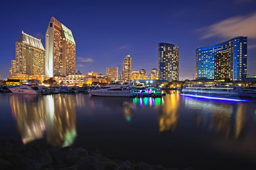 San Diego Marina at Twilight with Waterfront Hotel and Buildings