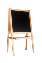 Children easel with blackboard isolated on white