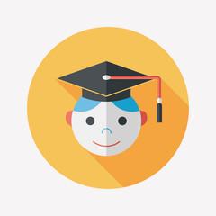 Graduation Man flat icon with long shadow,eps10