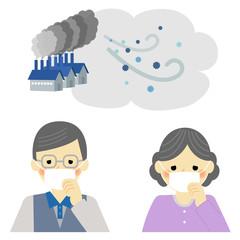 大気汚染 PM2.5 シニア / vector eps10