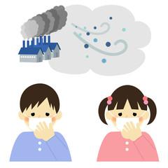 大気汚染 PM2.5 子供 / vector eps10