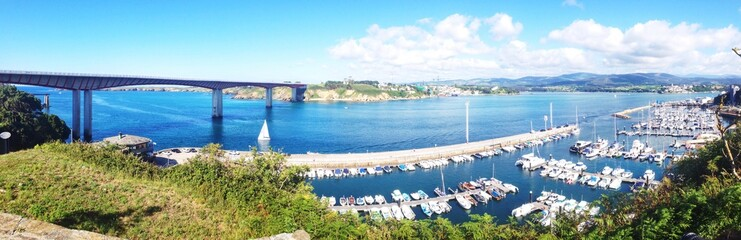 Panoramic view of Ribadeo seaport in Galicia, Spain