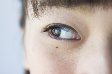 Eyes of the young women who see the right