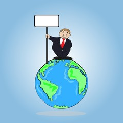 Businessman holding a sign board on the wold