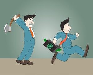 Businessman holding the axe and Businessman run