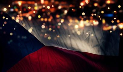 Czech Republic National Flag Light Night Bokeh Abstract