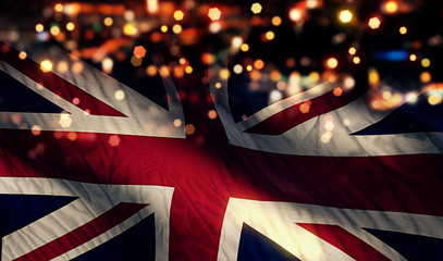 England UK National Flag Light Night Bokeh Abstract Background