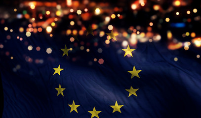 Europe National Flag Light Night Bokeh Abstract Background