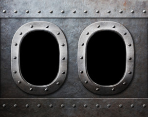 two military ship or submarine windows as steam punk metal backg