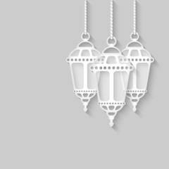 paper lanterns on gray background
