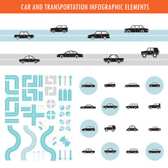 Car and transportation infographic elements and icons set