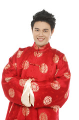 Oriental chinese young man with tradition clothing