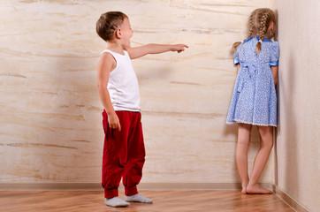 Two Cute Kids Playing Hide and Seek