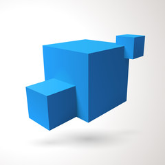 Three 3D cubes logo