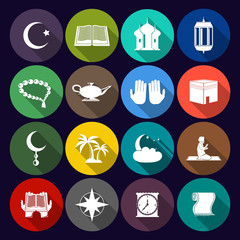 Islam Icons Set Flat