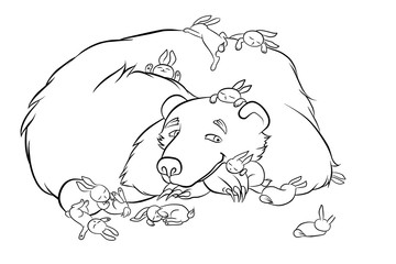 kind bear with the little rabbits