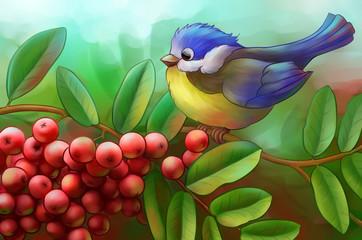 bird on a branch of mountain ash