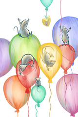 mice flying on balloons