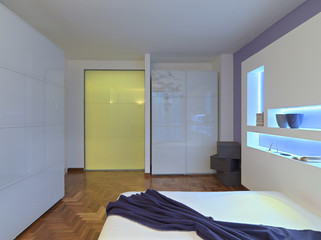 interior view of a modern bedroom with glass wardrobe