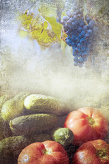 Grapes and vegetables witha  vintage look