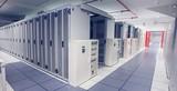 Empty hallway of server towers - 69445781