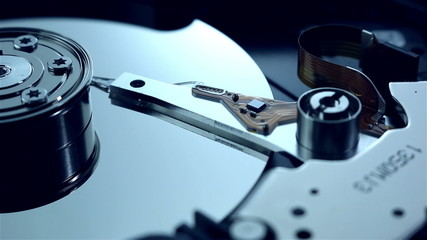Dolly shot of hard disk drive
