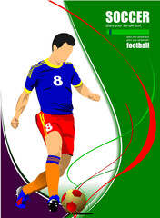 Soccer player poster. Football player. Vector illustration