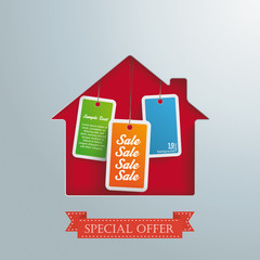 House Hole Silver Background Price Stickers