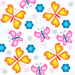 Seamless butterfly and flowers pattern