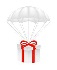 Gift box at white parachute